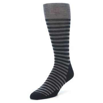 Image of Grey Black Stripe Wool Men's Casual Socks (side-2-front-08)