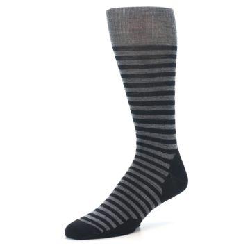 Image of Grey Black Stripe Wool Men's Casual Socks (side-2-09)