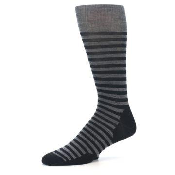 Image of Grey Black Stripe Wool Men's Casual Socks (side-2-10)