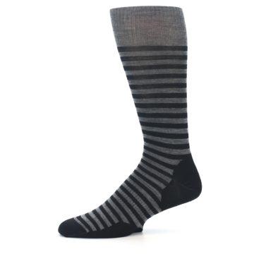 Image of Grey Black Stripe Wool Men's Casual Socks (side-2-11)