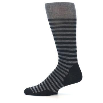 Image of Grey Black Stripe Wool Men's Casual Socks (side-2-12)