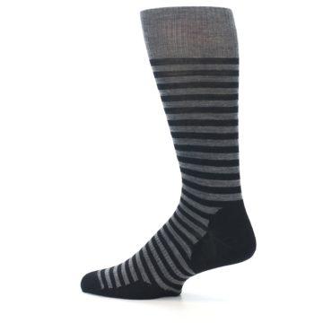 Image of Grey Black Stripe Wool Men's Casual Socks (side-2-13)