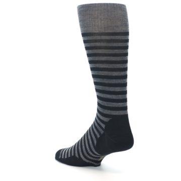 Image of Grey Black Stripe Wool Men's Casual Socks (side-2-back-15)