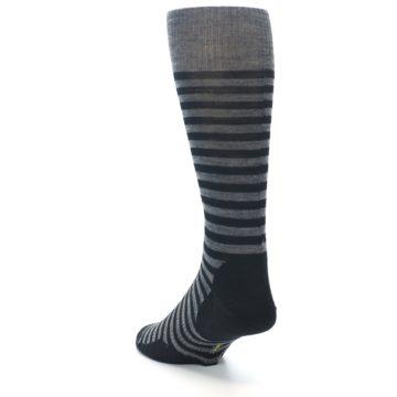 Image of Grey Black Stripe Wool Men's Casual Socks (side-2-back-16)