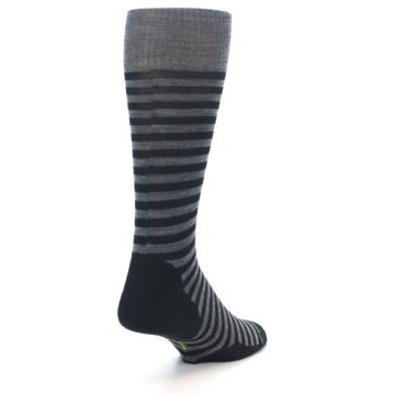 Image of Grey Black Stripe Wool Men's Casual Socks (side-1-back-21)