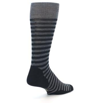 Image of Grey Black Stripe Wool Men's Casual Socks (side-1-back-22)