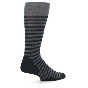 Image of Grey Black Stripe Wool Men's Casual Socks (side-1-23)