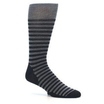 Image of Grey Black Stripe Wool Men's Casual Socks (side-1-26)