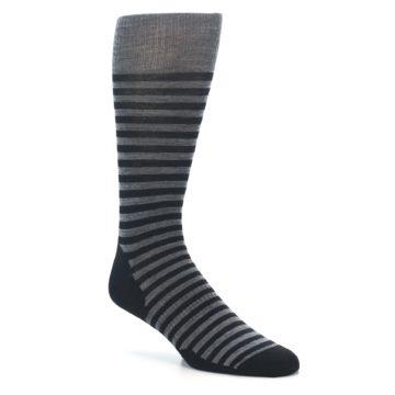 Image of Grey Black Stripe Wool Men's Casual Socks (side-1-27)