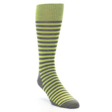 Image of Lime Grey Stripe Wool Men's Casual Socks (side-1-front-02)