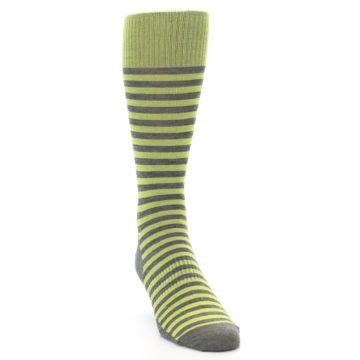 Image of Lime Grey Stripe Wool Men's Casual Socks (side-1-front-03)