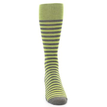 Image of Lime Grey Stripe Wool Men's Casual Socks (front-04)