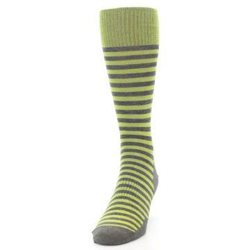 Image of Lime Grey Stripe Wool Men's Casual Socks (side-2-front-06)