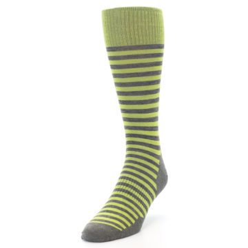 Image of Lime Grey Stripe Wool Men's Casual Socks (side-2-front-07)