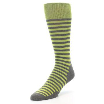 Image of Lime Grey Stripe Wool Men's Casual Socks (side-2-front-08)