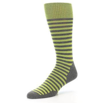 Image of Lime Grey Stripe Wool Men's Casual Socks (side-2-09)