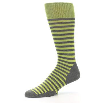 Image of Lime Grey Stripe Wool Men's Casual Socks (side-2-10)