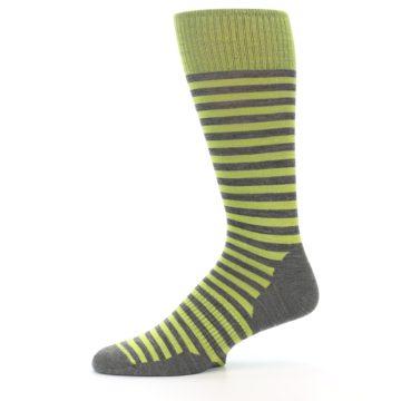 Image of Lime Grey Stripe Wool Men's Casual Socks (side-2-11)