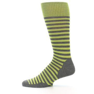 Image of Lime Grey Stripe Wool Men's Casual Socks (side-2-12)