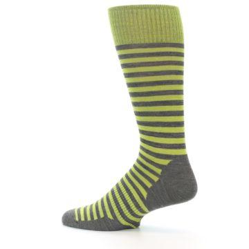 Image of Lime Grey Stripe Wool Men's Casual Socks (side-2-13)