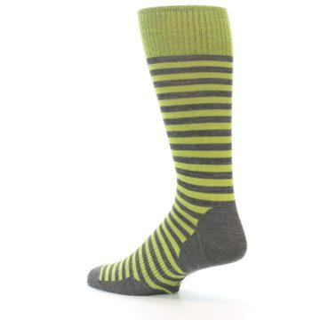 Image of Lime Grey Stripe Wool Men's Casual Socks (side-2-back-14)