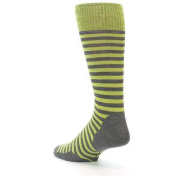 Image of Lime Grey Stripe Wool Men's Casual Socks (side-2-back-15)