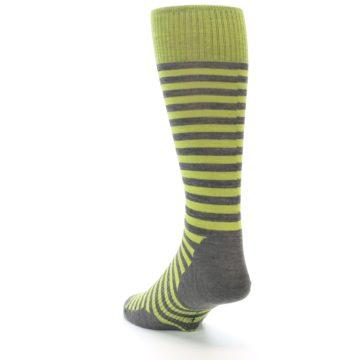 Image of Lime Grey Stripe Wool Men's Casual Socks (side-2-back-16)