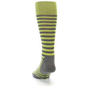 Image of Lime Grey Stripe Wool Men's Casual Socks (back-17)