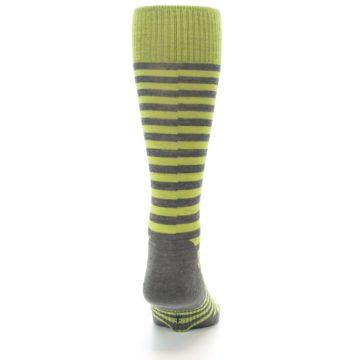 Image of Lime Grey Stripe Wool Men's Casual Socks (back-19)