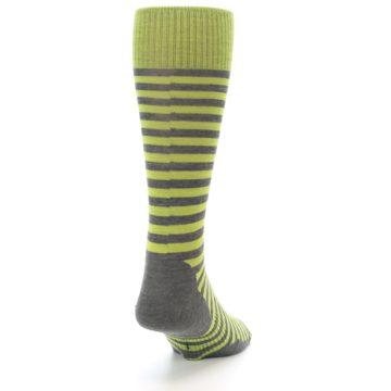 Image of Lime Grey Stripe Wool Men's Casual Socks (side-1-back-20)