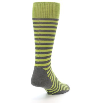 Image of Lime Grey Stripe Wool Men's Casual Socks (side-1-back-21)