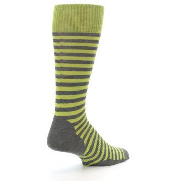 Image of Lime Grey Stripe Wool Men's Casual Socks (side-1-back-22)