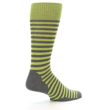 Image of Lime Grey Stripe Wool Men's Casual Socks (side-1-23)