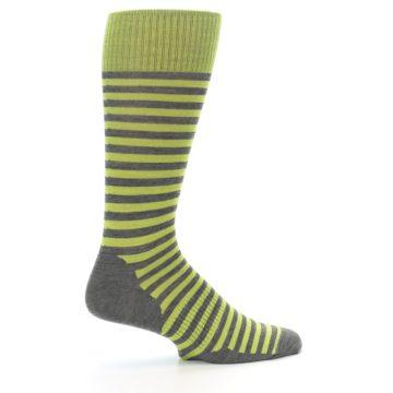 Image of Lime Grey Stripe Wool Men's Casual Socks (side-1-24)