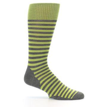 Image of Lime Grey Stripe Wool Men's Casual Socks (side-1-25)