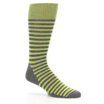 Image of Lime Grey Stripe Wool Men's Casual Socks (side-1-26)
