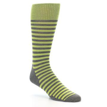 Image of Lime Grey Stripe Wool Men's Casual Socks (side-1-27)