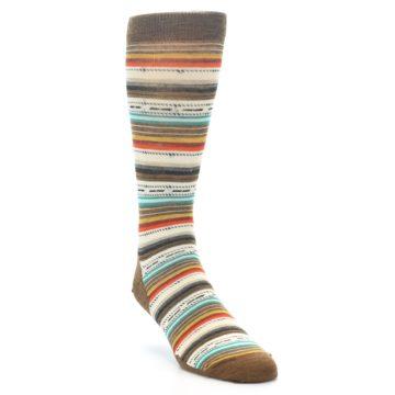 Image of Brown Multi Stripe Wool Men's Casual Socks (side-1-front-02)