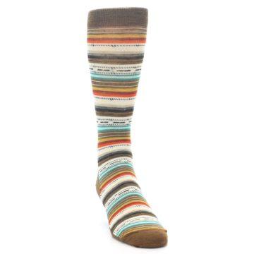 Image of Brown Multi Stripe Wool Men's Casual Socks (side-1-front-03)