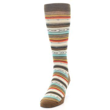 Image of Brown Multi Stripe Wool Men's Casual Socks (side-2-front-06)