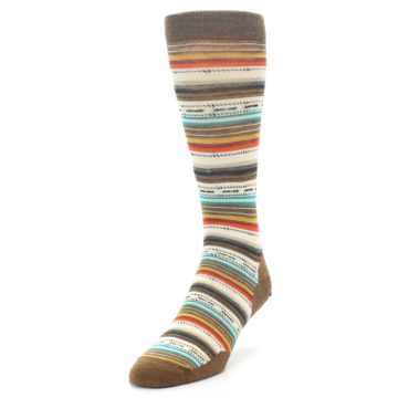 Image of Brown Multi Stripe Wool Men's Casual Socks (side-2-front-07)