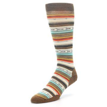 Image of Brown Multi Stripe Wool Men's Casual Socks (side-2-front-08)