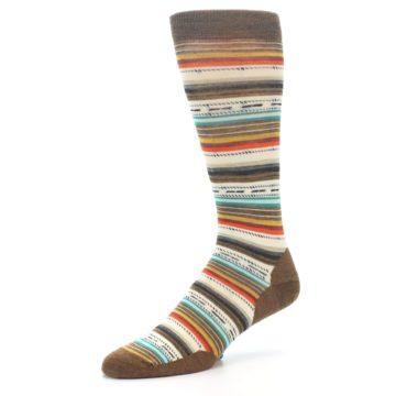 Image of Brown Multi Stripe Wool Men's Casual Socks (side-2-09)