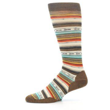 Image of Brown Multi Stripe Wool Men's Casual Socks (side-2-11)