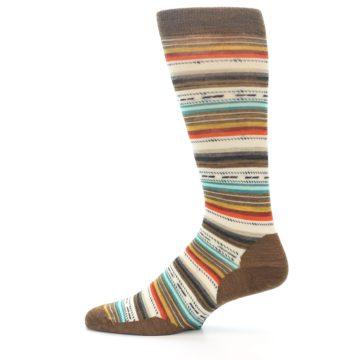 Image of Brown Multi Stripe Wool Men's Casual Socks (side-2-12)
