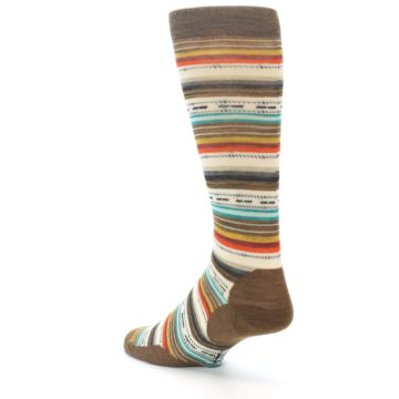 Image of Brown Multi Stripe Wool Men's Casual Socks (side-2-back-15)
