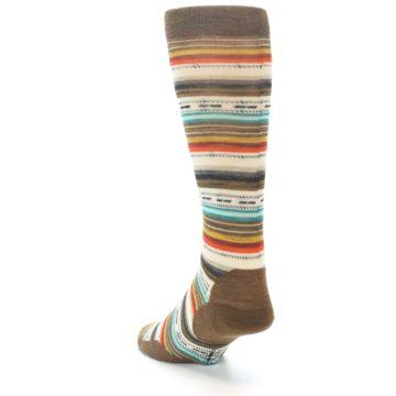 Image of Brown Multi Stripe Wool Men's Casual Socks (side-2-back-16)