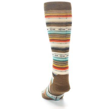 Image of Brown Multi Stripe Wool Men's Casual Socks (back-17)