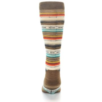 Image of Brown Multi Stripe Wool Men's Casual Socks (back-18)