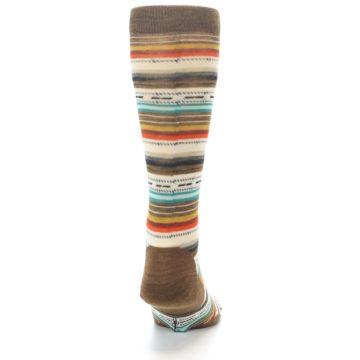 Image of Brown Multi Stripe Wool Men's Casual Socks (back-19)